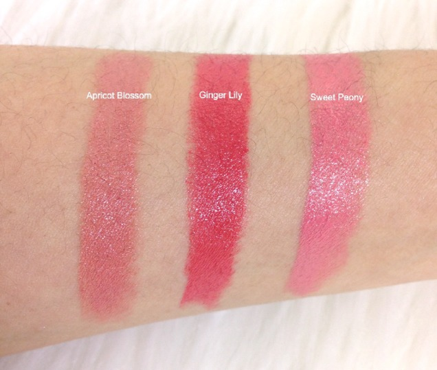 Flower Lipstick swatches
